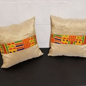 Yellow African Accent Ankara Kente Pillow